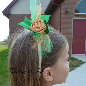 Flower Girl Green and Gold Headband