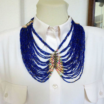 Vintage Ethnic Boho Cobalt Blue Seed Beads Necklace - Large Statement