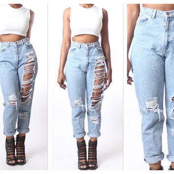 cut up plus size jeans - Jean Yu Beauty