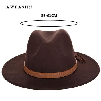 New Fashion Solid Color and Winter Men's Fedora Hat Wool Leather Male Vintage Classical Sombrero Hairy Headscarf Bone
