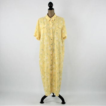 Linen Dress Button Up Maxi Dress 2X 3X Yellow Floral Plus Size Clothing Short Sleeve Dress Spring Summer Vintage Clothing Womens Clothing