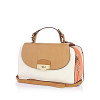 Coral colour block structured bag