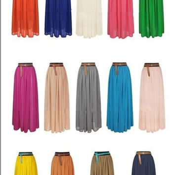 New Fashion Hot Sales  Women Amazing Sexy Chiffon Long Skirt Bohemian Princess pleated Skirt = 1928558980