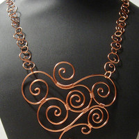 Elegant Copper Swirled Necklace all hand made