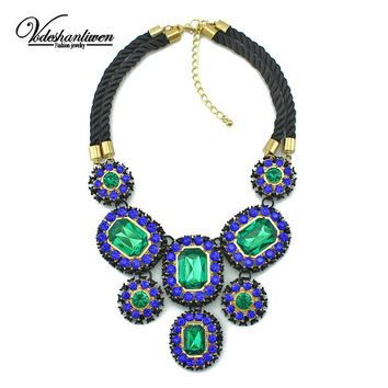 Vodeshanliwen 2015 New Luxury Fashion Brand of Women jewelry Crystal Necklaces & Pendants Large Collar statement necklace
