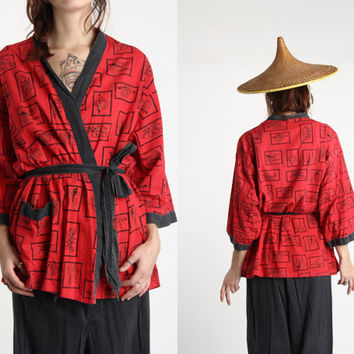 1940s Pajamas . Asian Top and Pants Loungewear RED BLACK CHINA