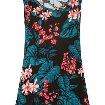 Black Tropical Print Vest | Dorothyperkins
