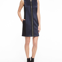 Prospect Zip-Front Silk Dress, Navy, Size: