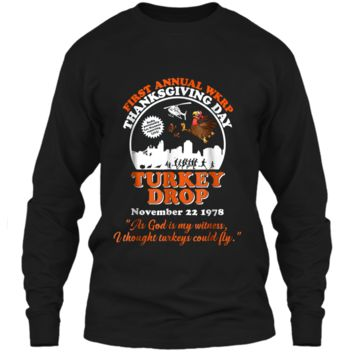 First annual WKRP Turkey Drop with Les-Nessman Funny  LS Ultra Cotton Tshirt