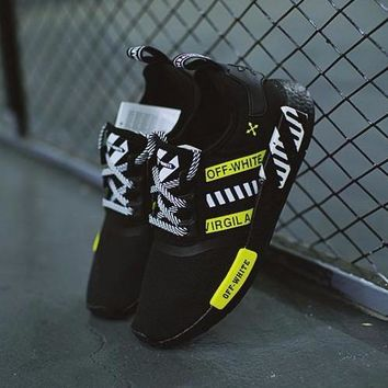 Best Online Sale OFF WHITE x Adidas NMD R1 Boost Black White Fluorescent Green BA77879 Running Shoes Sport Shoes -