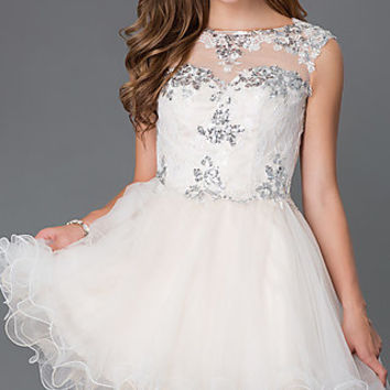 Short Prom Dress With Lace Bodice by Elizabeth K