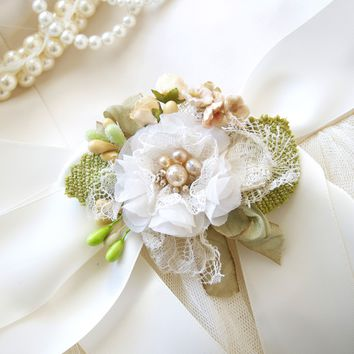 Petals and Pearls ~ Floral Bridal Sash