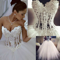 Sleeveless Sparkle Ball Gown Wedding Dress with Beads Custom Size 0  4 6 8 10 12