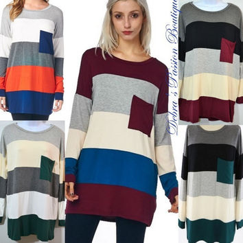 GAME DAY MODAL SOFT COLOR BLOCK TUNIC MODAL POCKET TOP STRIPE S-M-L FIVE COLORS