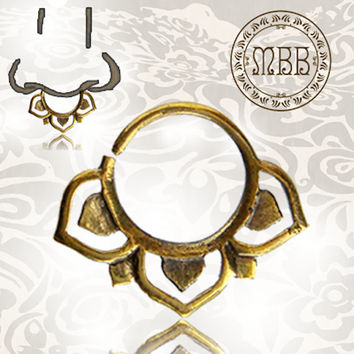 "Ornate 16g (1.2mm) Antiqued Lotus Flower Tribal Brass Septum Nose Piercing 3/8"" ring diameter 9mm 15mm length Brass filigree"