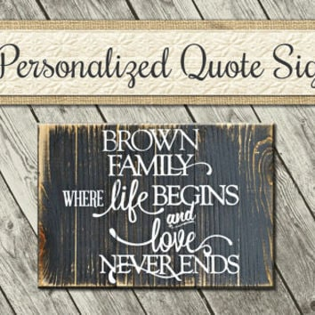 Family Where Life Begins | Inspirational Wood Signs | Family Quote Sign | Wooden Quote Sign | Custom Family Sign | Wooden Signs with Quotes