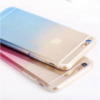 Ultra Thin Cover Protective Phone Cases For Apple iphone6 6S 6 Plus 5 5S Candy Gradient TPU Clear Transparent For iphone 6 Case
