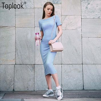 Toplook Jacquard Elegant Dress Blue Bodycon Short Sleeve Summer Women Knee Length Dress Robe 2017 O-Neck Fitness Long Dresses