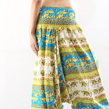 Elephant harem pants Bohemian pants Women Yoga Pants Hippie pants Aladdin Pants Boho trousers bohemian clothing harem jumpsuit, green