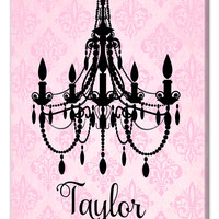 Personalized Girls Chandelier Canvas Wall Art