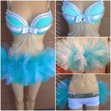 Tiffany and Co Inspired Rave Outfit - Bra with Swarovski Details and Tutu - Mayrafabuleux Original Design