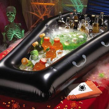2016 Hot Sale New Halloween Inflatable Pvc Simulation Coffin Drink Cooler Ice Buckets Toy Event Item Party Decoration Supplies