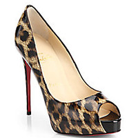 Christian Louboutin - Leopard-Print Patent Leather Peep-Toe Pumps - Saks Fifth Avenue Mobile