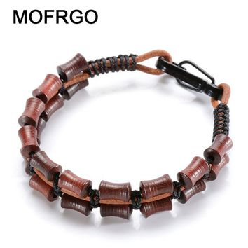 Natural Wood Single Leather Wrap Bracelet Handmade Cuff Women Men Woven Bracelet Charm Meditation Prayer Healing Yoga Bracelets