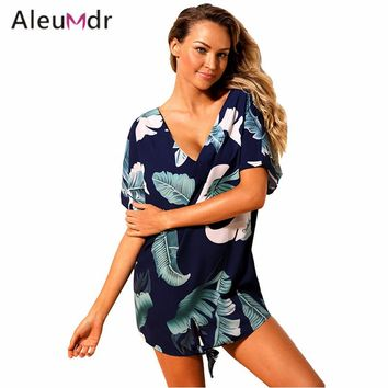 Aleumdr Summer Beach Dress 2018 Print Swimwear Cover Up Kaftan Women Beachwear Swim Wear Cover-Ups LC42259 Saidas De Praia