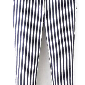 White and Blue Vertical Striped Pants