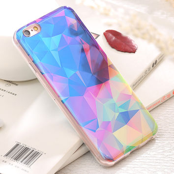 KISSCASE Luxury Crystal Blue Blu-Ray Light Case For iPhone 6 6s Plus 7 7 Plus Ultra Thin Shining Soft Back Protective Cover Case