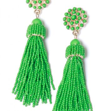 Don't Tassel Me Beaded Earring Green