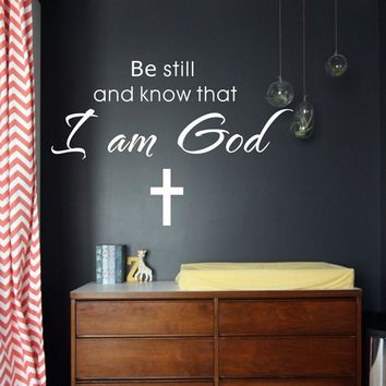 be still and know that i an god art Vinyl Wall Quote stickers lettering Religious words home decor decals free shipping