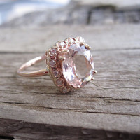 2.15 Cts. Morganite Diamond Engagement Ring in 14K Handcasted Rose Gold
