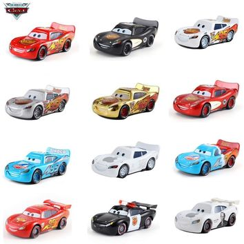 Cars Disney Pixar Cars 3 # 95 Lightning McQueen Jackson Storm Mater 1:55 Diecast Metal Alloy Model Car Toy gift  Children Boys