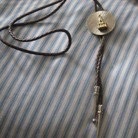 VINTAGE Aerial Tramway Tram   BOLO medallion  TIE silvertone with goldtone