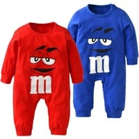 Fashion Baby Clothing Unisex Cotton Baby Romper Long Sleeve Cartoon Toddler Outfit Newborn Baby Boy Girl Clothes Blue and Red