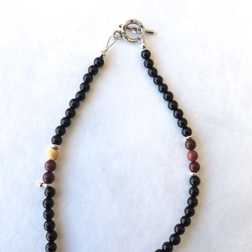 Mens Necklace, African Mookaite and Black Onyx, Mookaite, Onyx, Bali Silver, Mens, Mens Gift, Gift, Black, Multicolored, Earthy, Mans