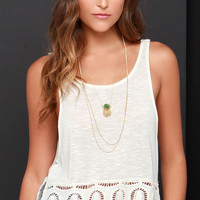 Others Follow Haven Cream Crochet Crop Top