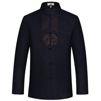 Linen Jackets Men Dragon Embroidery Jackets Long Sleeve Plus Size 3XL Chinese Jacket Han Fu Mandarin Collar Tai Chi Clothing