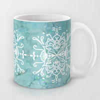 Aqua Blue Marble-Royal White Mug by Lisa Argyropoulos