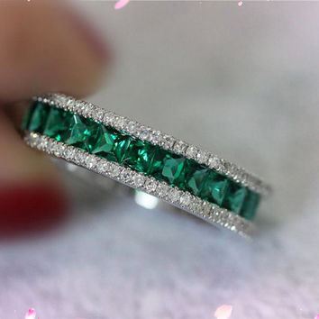Full Eternity 2.36ct Princess VS Emerald Ring Band 14K White Gold Diamond Engagement Wedding Band Ring Emerald Jewelry
