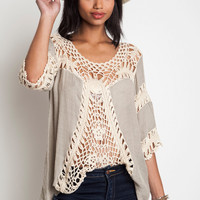Crochet Tunic - Taupe