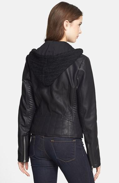 5992dc53 Women's GUESS Faux Leather Moto Jacket with Cable Knit Hooded Bib Inset
