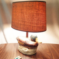 Table Lamp Mallard Duck with burlap lamp shade  Rustic Home decor cabin, man cave, rec room, hunting shack.