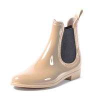Womens All Rain Ankle Boots- Nude Casual Chelsea Style Wellies Gum Boots