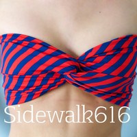 Red and Blue Stripe Bandeau Top Spandex Bandeau Bikini Swimsuit