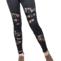 Anna-Kaci Free Size Black Peeping Rose Lace Gothic Urban Glamorous Leggings
