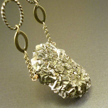 Raw pyrite necklace huge rough pyrite antique bronze by NatureLook