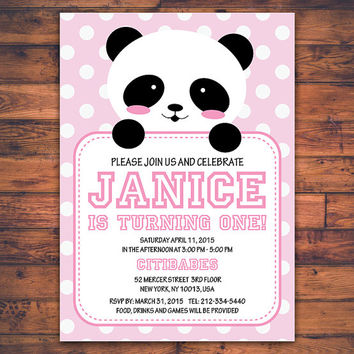 Personalize Baby Panda Boy or Girl First Birthday Invitation Card Polka Dot Party Invite Celebrate 1st Birthday Digital Print Printable